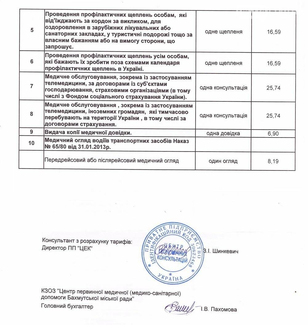 ЦПМСП Бахмута опубликовал тарифы на некоторые платные медицинские услуги, фото-2