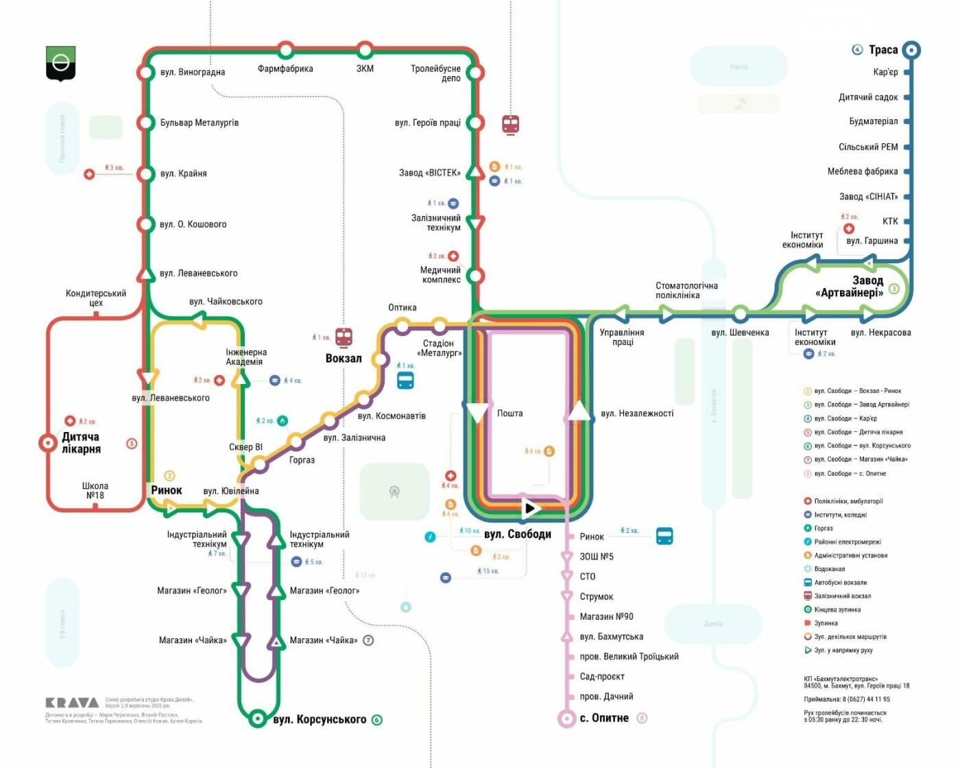 В Бахмуте опубликовали новую схему троллейбусных маршрутов, фото-1